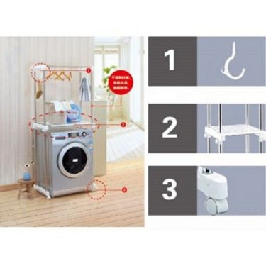 Kawachi SS Washer Rack With Height Adjustable Pulley-K179