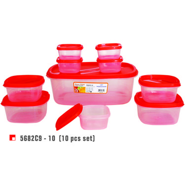 Princeware 10 Pcs Store Fresh Container Set-Red