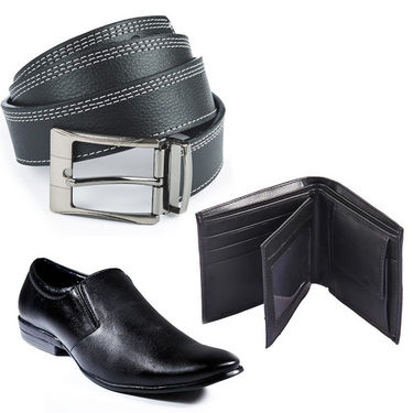 Combo of  Black Formal Shoes + Belt + Wallet