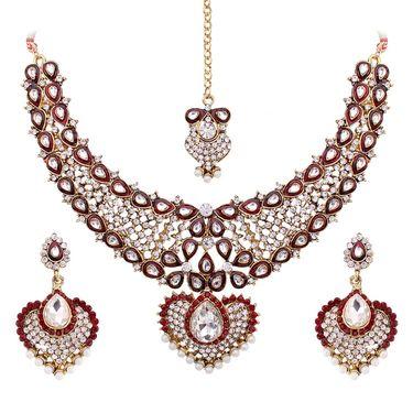 Vendee Fashion Kundan Bridal Necklace Set - Maroon _ 8464