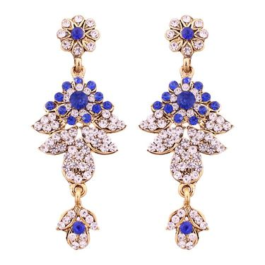 Vendee Fashion Kundan Antique Delicate Necklace Set - Royal Blue _ 8498