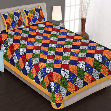 Priya Fashions Set of 8 Traditional Cotton Double Bedsheets with 16 Pillow Covers -PF101DWP8B