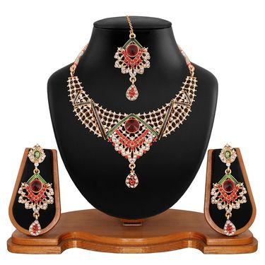 Vendee Fashion Kundan Studded Necklace Set - Maroon & Green _ 8517
