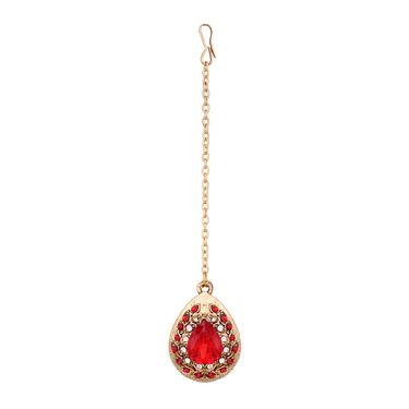 Vendee Fashion Kundan Bridal Necklace Set - Maroon _ 8601