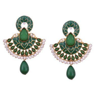 Vendee Fashion Traditional Unique Design Kundan Earrings - Green _ 8602H