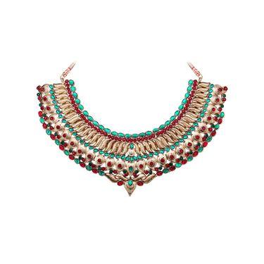 Vendee Fashion Stylish Necklace Set - Maroon & Green