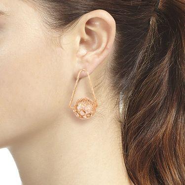 Vendee Fashion Kundan Ball Earrings - Golden _ 8621