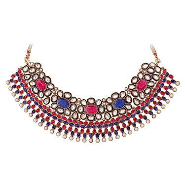 Vendee Fashion Stylish Necklace Set - Pink & Blue