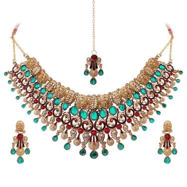 Vendee Fashion Stylish Necklace Set - Marron & Green