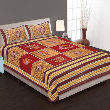 Set of 4 Cotton King Size Jaipuri Sanganeri Printed Bedsheets With 8 Pillow Covers-90x108B4C5