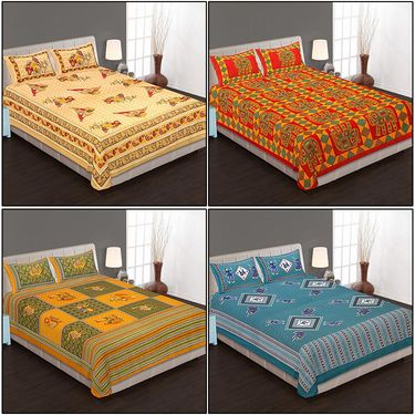 Set of 4 Cotton King Size Jaipuri Sanganeri Printed Bedsheets With 8 Pillow Covers-90x108B4C8