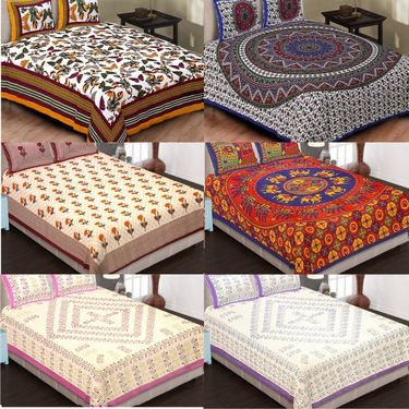 Set of 6 King Size Cotton Jaipuri Sanganeri Printed Bedsheets With 12 Pillow Covers-B6C6