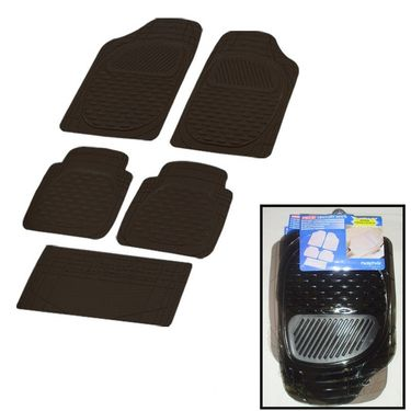 Autofurnish (Imported) Universal Car Floor Mats (Smoke Black) Set of 5