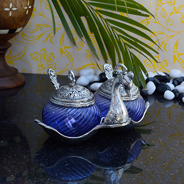 eCraftIndia Crystal Mouth Freshner Container with 2 Spoons - Silver & Blue