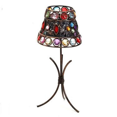 Aapno Rajasthan Lamp Shade Tea Light Holder with Color Glass Holders
