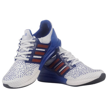 Adidas Mesh White & Blue Sports Shoes -osy13