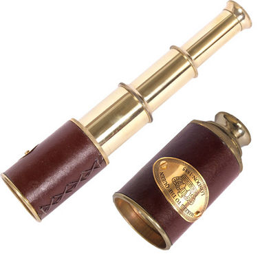 Antique Real Usable Telescope in Brass and Leather
