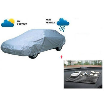 Combo of AutoSun Car Body Cover for Fiat Palio - Silver + Non Slip Mat