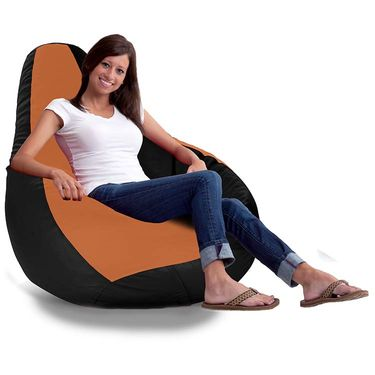 Storyathome-_XXL Tan - BLACK Bean Bag Chair Cover Without Beans-BB1403