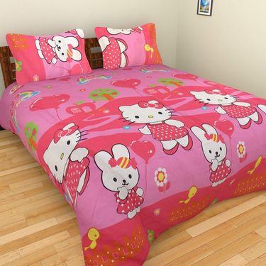 Mangalam Polycotton double Bedsheet  with 2 pillow covers-BD-13