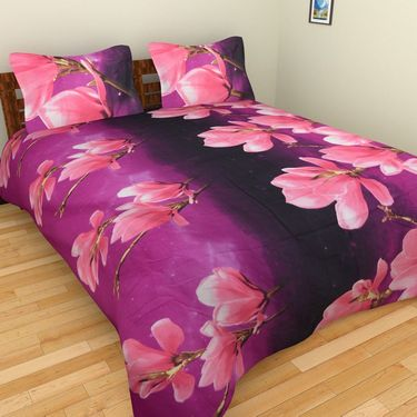 Mangalam Polycotton double Bedsheet  with 2 pillow covers-BD-4