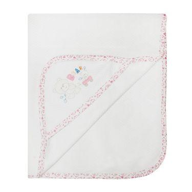 Wonderkids Bear Print Baby Hooded Wrapper- White