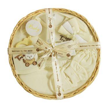 Montaly Circle Shape 9 Piece Baby Gift Set - Cream