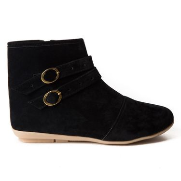 Branded Suede Leather Womens Boots BLS-001-BK