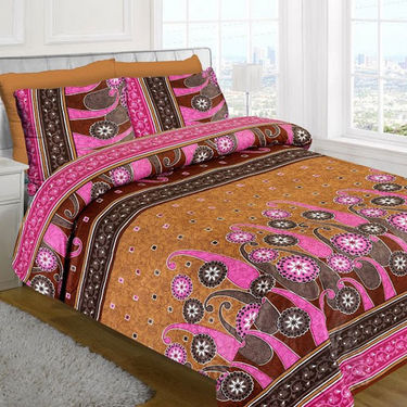 Bazar Villa Cotton Double Bedsheet with 2 Pillow Covers - Multicolor- RCA3171