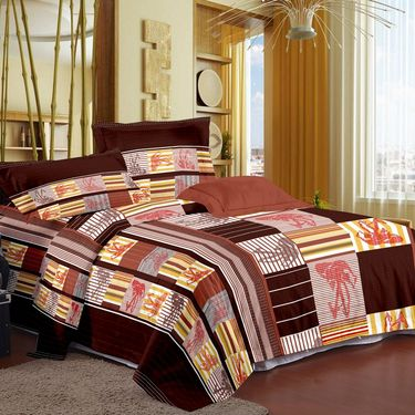 Storyat Home 100% Cotton Double Bed Sheet With 2 Pillow Covers-MG1276
