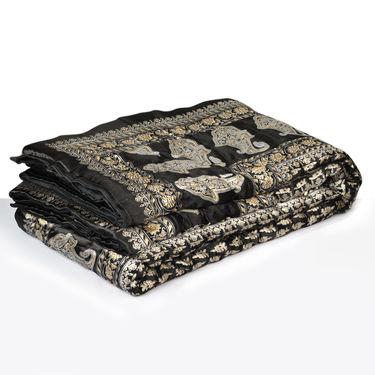 Black Jaipuri Silk Razai with Gold Prints