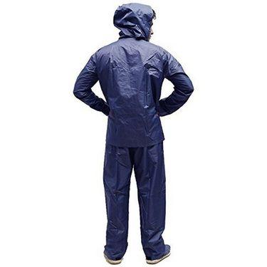 AutoStark Bike-Scooter Water Proof Rain Suit with Hood-Navy Blue-42 Size