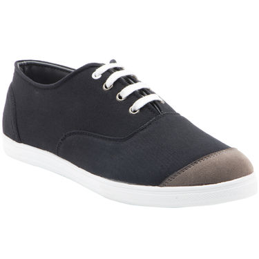 Randier Canvas Black & Grey Canvas Shoes -Cfl007