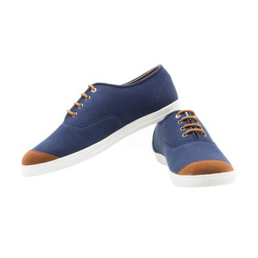 Randier Canvas Blue & Tan Canvas Shoes -Cfl008