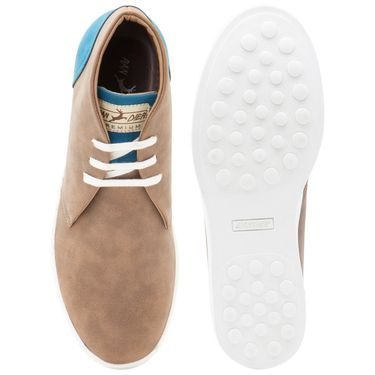 Randier Synthetic Leather Tan Sneakers Shoes -Cfl020