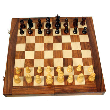 AVM 16inch Folding Chess Board Set (2.25 inch Border, Brown Yellow)