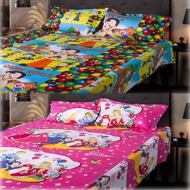 Set of 2 Chota Bheem and Beautiful Princess Kids Double Bedsheet with 4 Pillow Cover-CHFDBD111