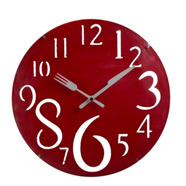 Charming Red Huge Numeral Wall Clock