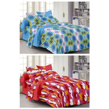 Storyathome Set Of 2 Double Bedsheet With 4 Pillow Cover-CN1238-CN1242