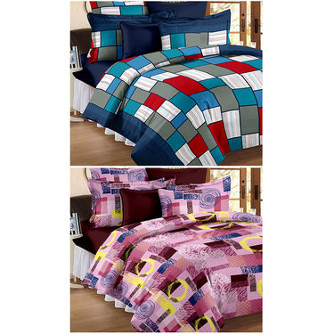 Set Of 2 Double Bedsheet With 4 Pillow Cover-CN_1205-CN1206