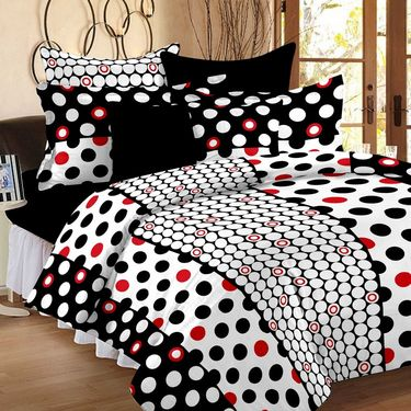 Combo of 100% Cotton Double Bedsheet, Blanket, Curtain Set & Hand Towel Set-CN_1227