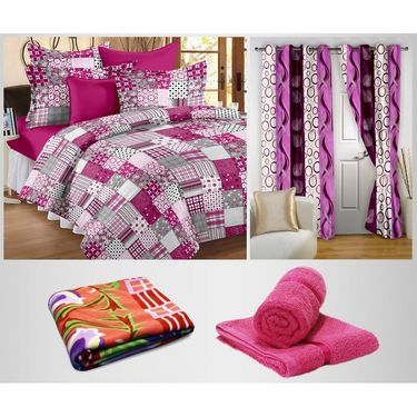 Storyathome 100% Cotton 1 Double Bedsheet Set,2 Pc Door Curtain,1 Pc Blanket & 2 Pc Hand Towel Combo-DNR2007