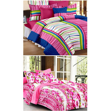 Set Of 2 Double Bedsheet With 4 Pillow Cover-CN_1246-CN1268