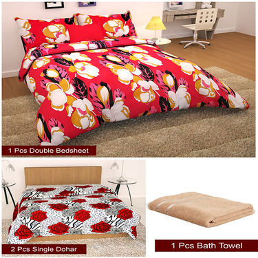 Storyathome Combo Of 1 Pc Cotton Double Bedsheet With 2 Pillow Cover, 2 Single Dohar/AC Micro Fiber Quilt , 1 Pc Cotton Bath Towel-CN_1429-FB_2-1219S-TW1218-X