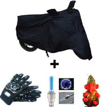 Combo of Bike Body Cover + ProBiker Gloves + Flash Wheel Lights + Hanging Ganesha for Suzuki Inazuma 250 COMBOBKBLACK-SUZUKI10