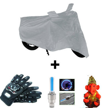 Combo of Bike Body Cover + ProBiker Gloves + Flash Wheel Lights + Hanging Ganesha for Yamaha YBR 110 COMBOBKSilver-YAMAHA13