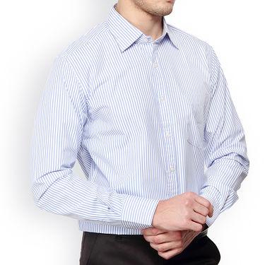 Copperline Stripes Full Sleeves Cotton Shirt For Men_cpl1017 - White & Blue