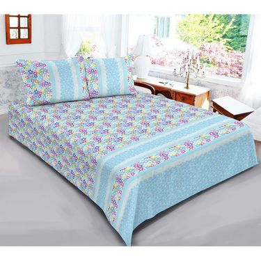 Exclusive Floral Print 1 Double Bedsheet with 2 Pillow Covers-CRH-DB351
