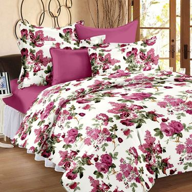 Storyathome 100% Cotton Double Bedsheet & 1 Single Bedsheet With 3 Pillow Cover -CR_1406-HY1409