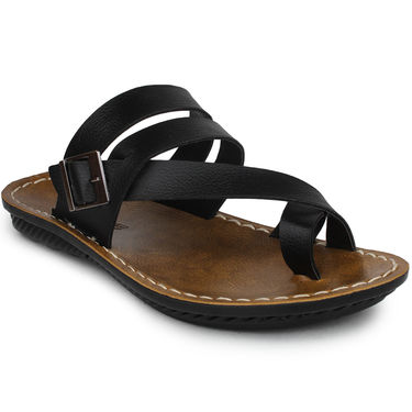 Columbus Synthetic Leather Black Sandals -2701